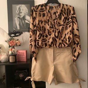 Leopard long sleeves blouse